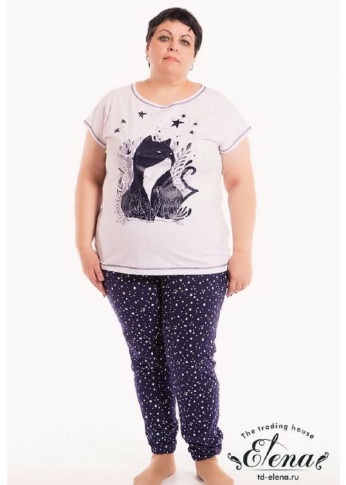 Костюм женский с кошкой с брюками и футболкой