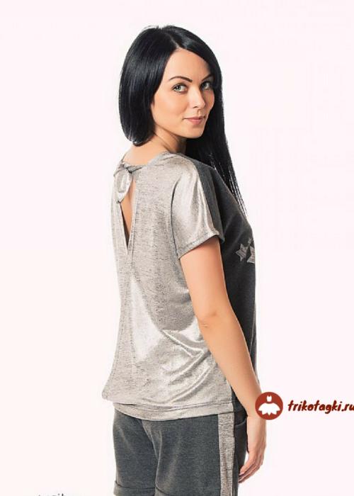 Костюм летний женский с шортами и серебристой спиной
