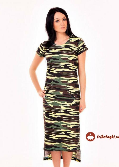 Платье женское длинное камуфляж