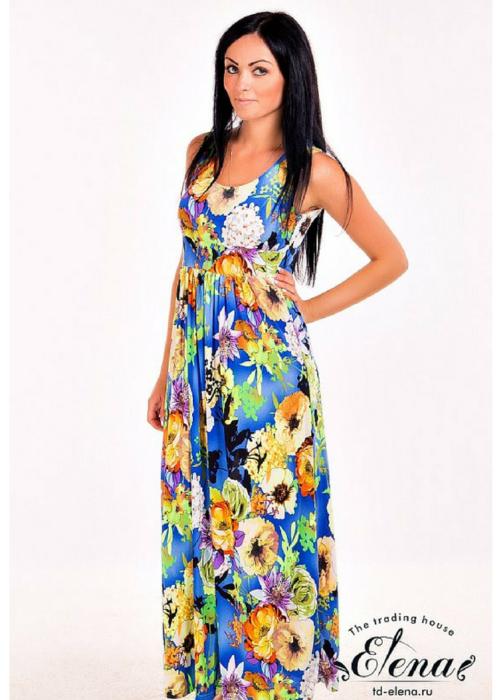 Платье летнее длинное на бретелях с цветочным принтом