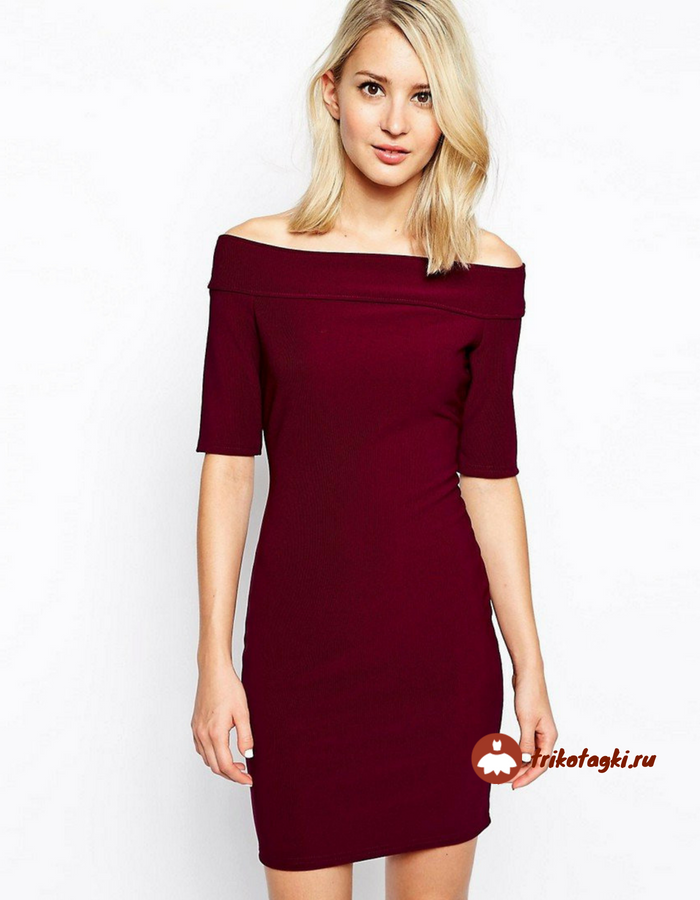 Платье бордовое с вырезом лодочка