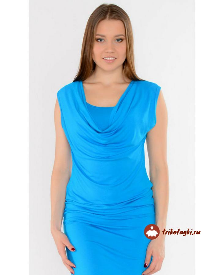 Платье голубое с вырезом хамут