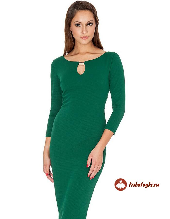 Изумрудное платье длинное с вырезом капля