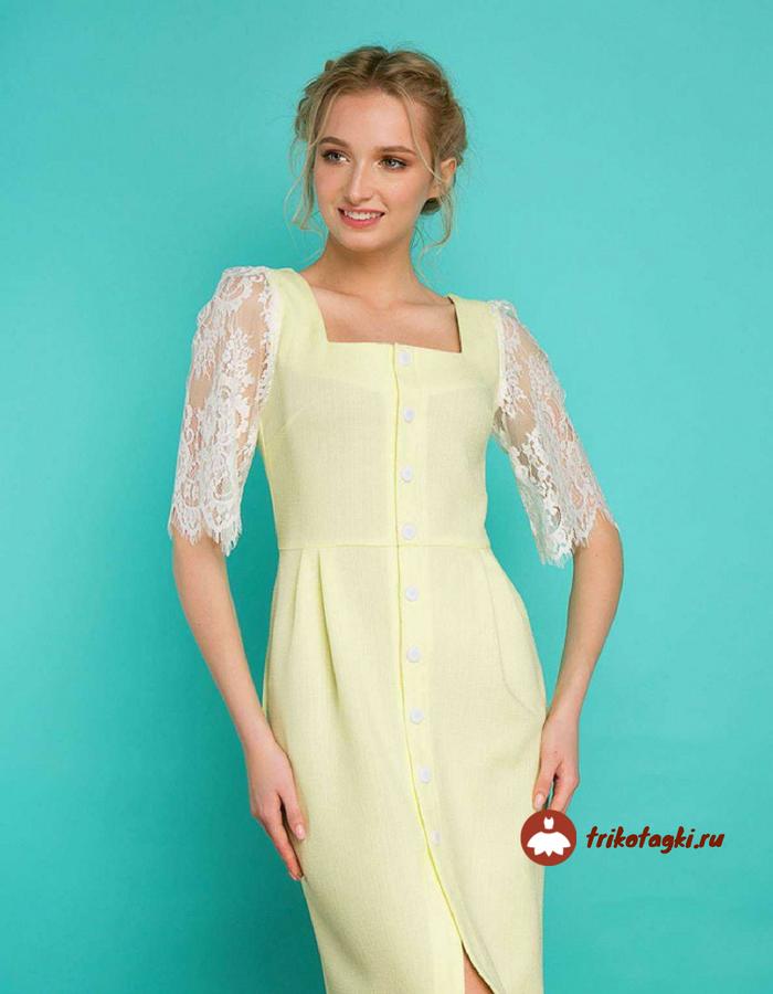Лимонное платье с горловиной каре