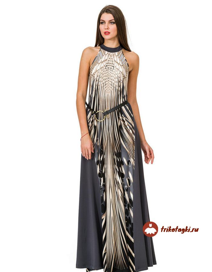 Праздничное длинное платье с вырезом халтер