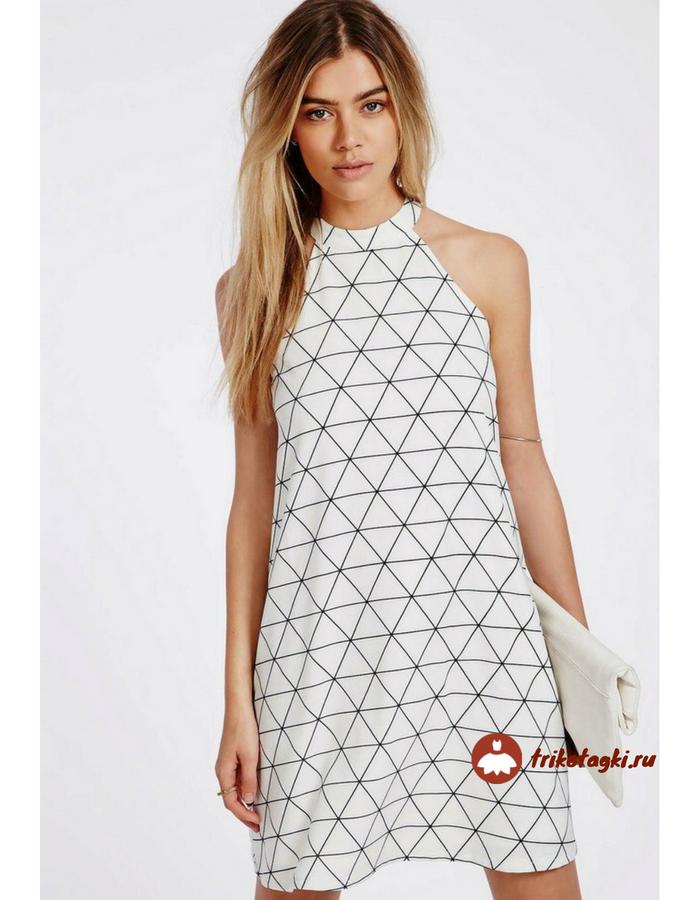 Летнее платье белое с американской проймой