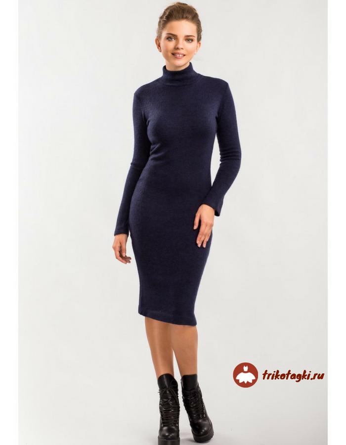 Платье черное с вырезом под горло