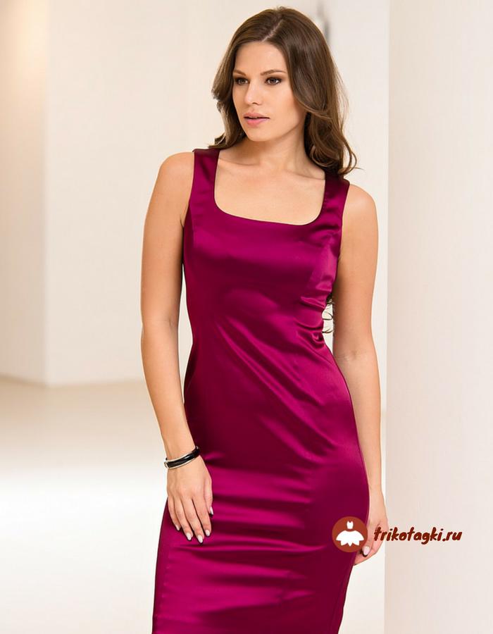 Красное платье с вырезом каре