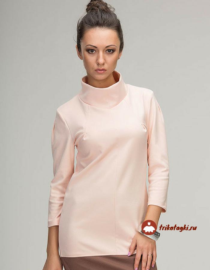 Блузка бежево-розовая с воротом под горло