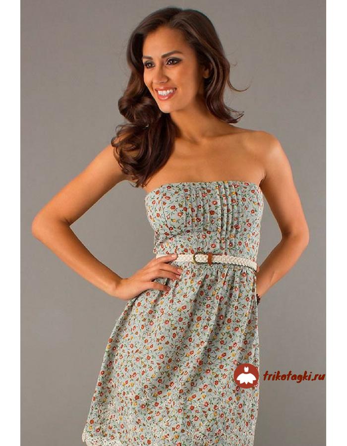 Платье летнее легкое с горловиной форсаж