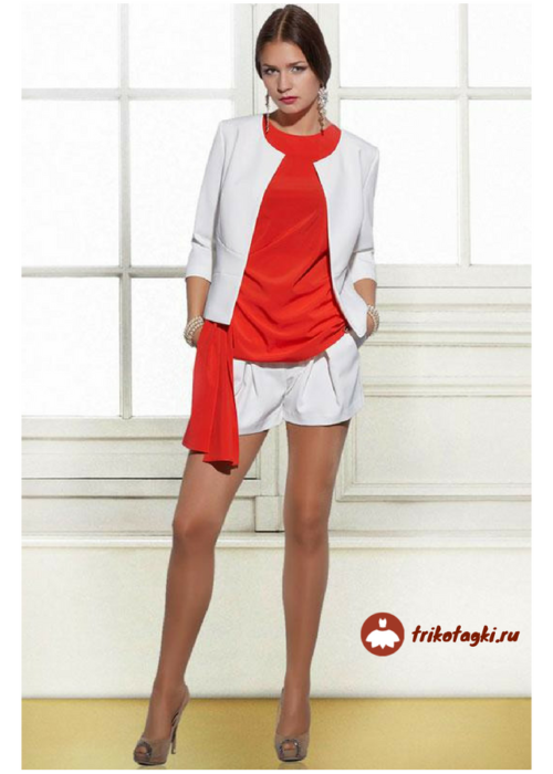 Белые женские шорты под классический пиджак