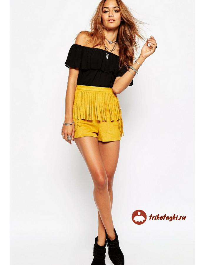 Желтые кожаные шорты