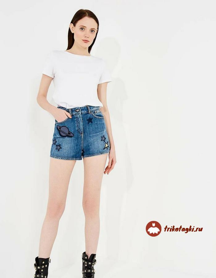 Шорты джинсовые с завышенной талией женские