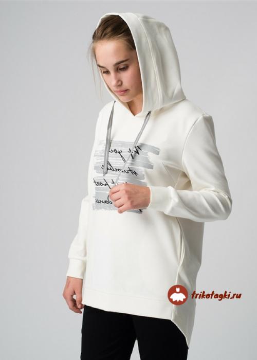 Туника женская белая с капюшоном