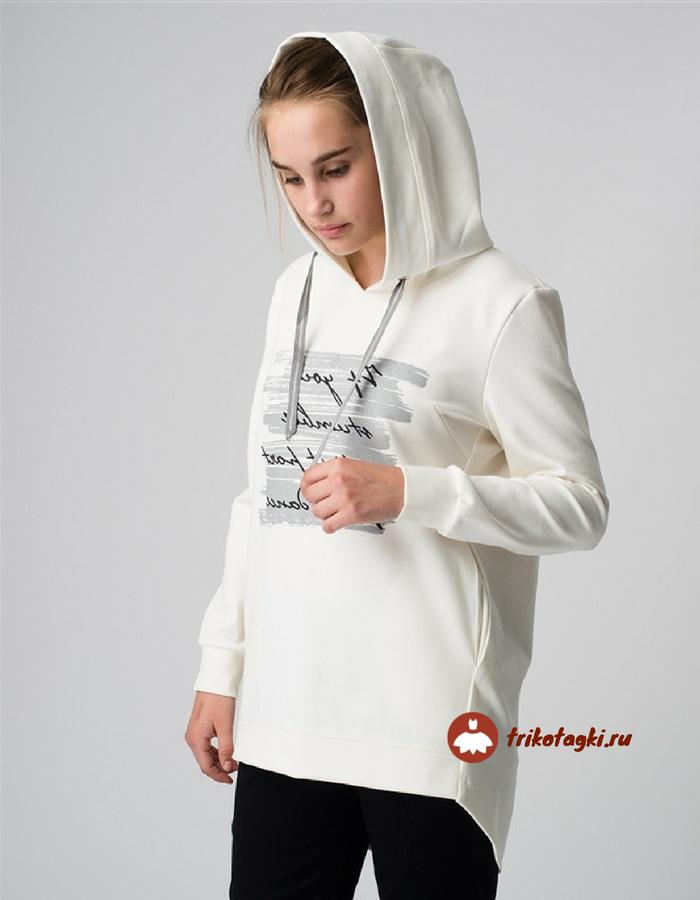 Белая женская туника с капюшоном
