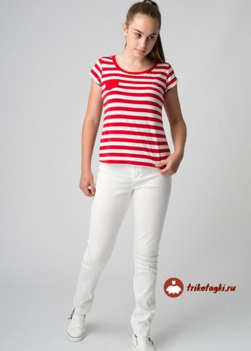 Футболка женская в красную полоску