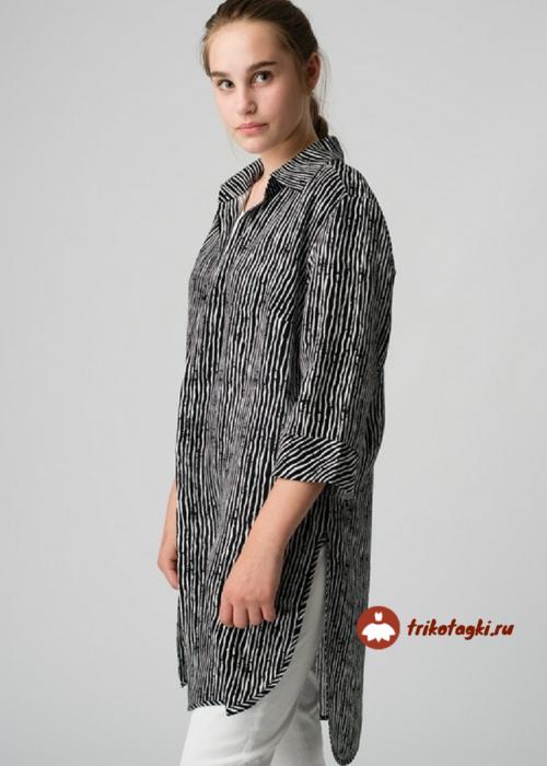 Рубашка длинная серая с черным женская
