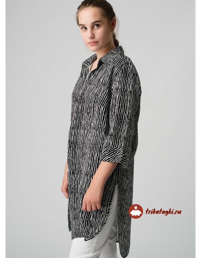Длинная рубашка - туника женская в черную полоску