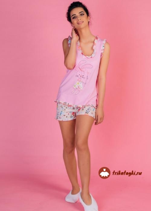 Пижама женская летняя розовая с цветными шортами