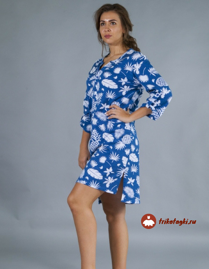 Туника синяя с принтом женская с разрезами по бокам