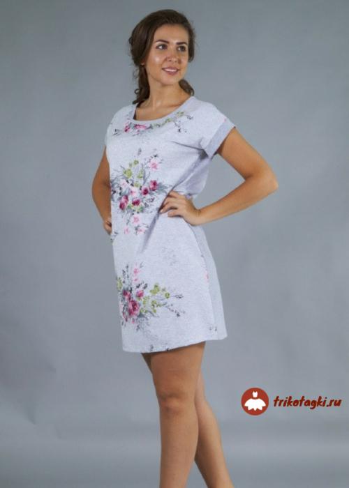 Туника женская белая с цветочным принтом