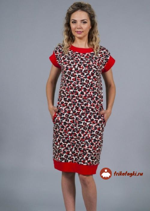 Платье женское с красной отделкой
