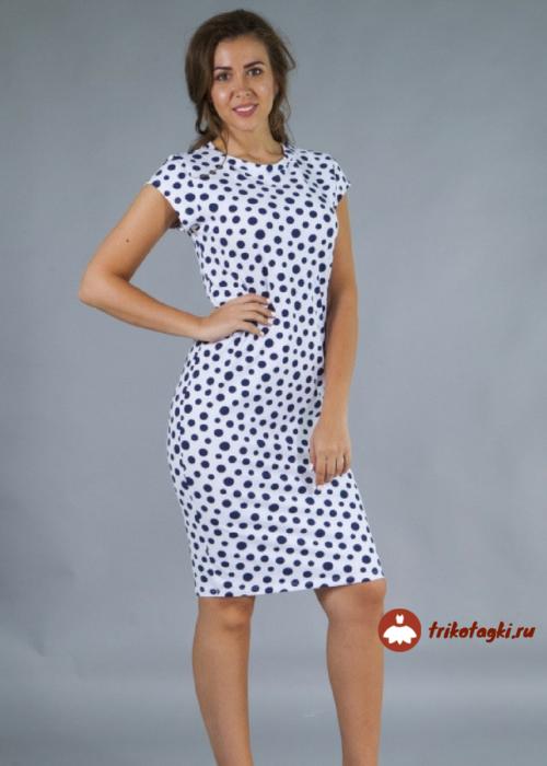 Платье белое в горох женское