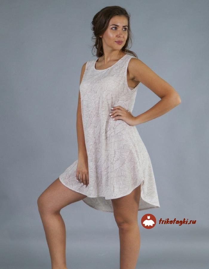 Туника женская пляжная белого цвета