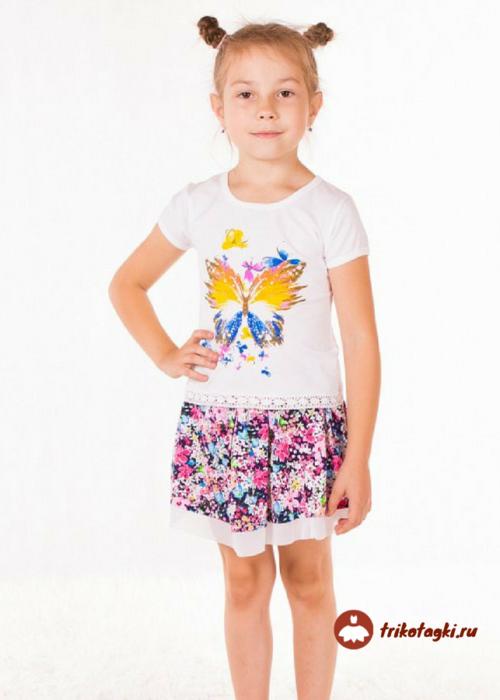 Летний костюм для девочки с цветной юбкой