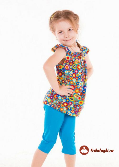 Костюм для девочки летний с цветной туникой