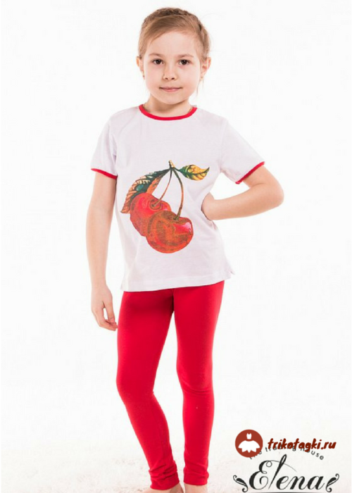 Костюм для девочки с красными лосинками