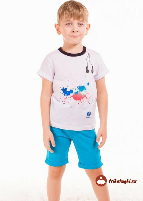 Детский летний костюм на мальчика с белой футболкой и голубыми шортами