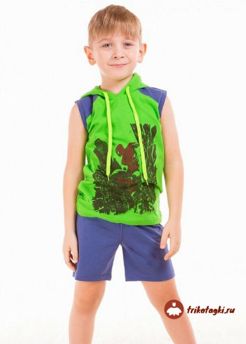 Костюм летний на мальчика с шортами и футболкой с капюшоном
