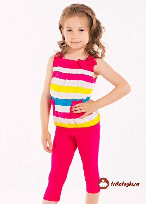 Костюм на девочку летний в полоску со штанами - кюлотами