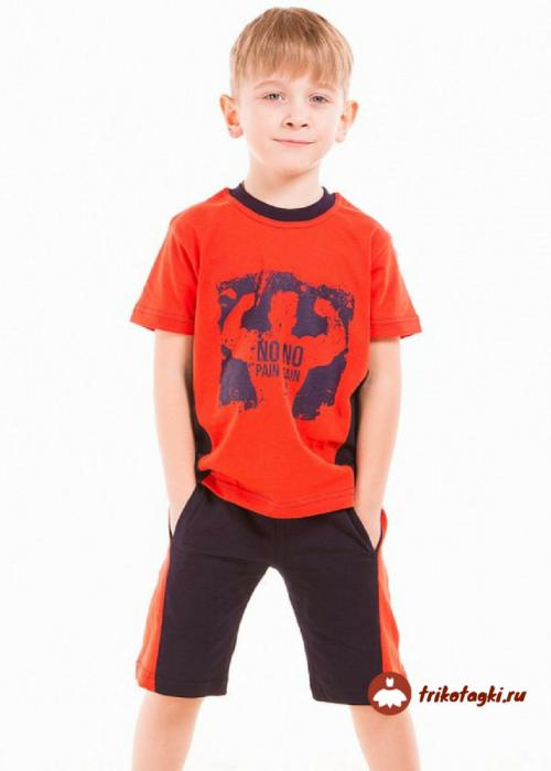 Летний костюм на мальчика с удлиненными шортами с лампасами