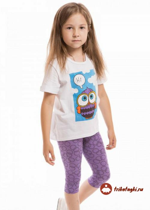 Летний комплект для девочки - белая футболка и фиолетовые бриджи