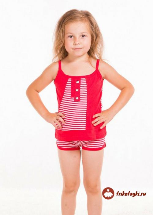 Летний костюм на девочку красный в полоску