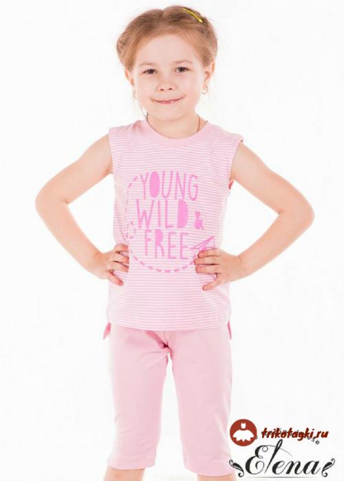 Костюм для девочки розовый с бриджами