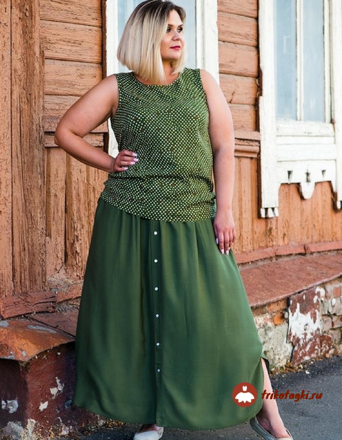 Юбка женская летняя зеленая