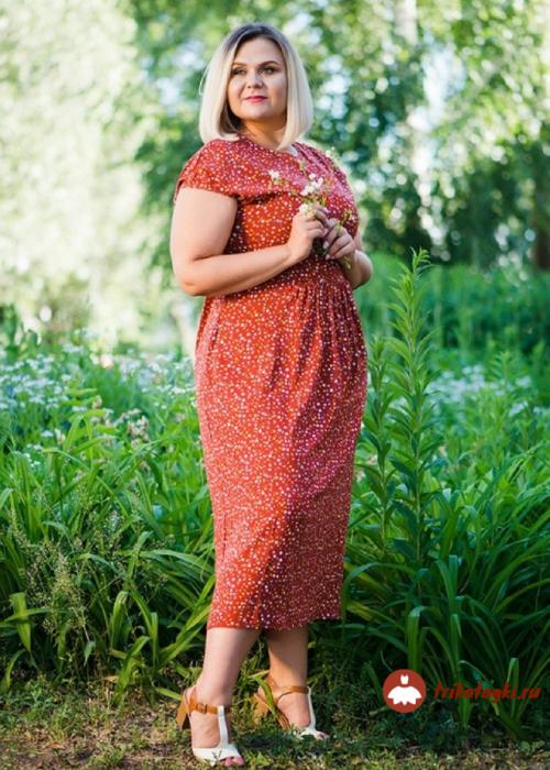 Платье женское красное с рисунком из трикотажа
