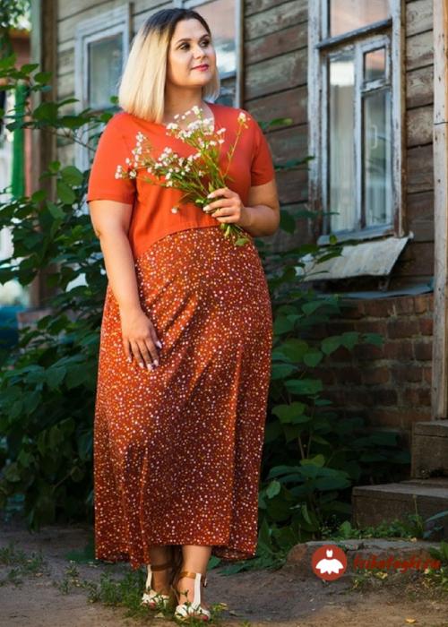 Платье женское красное комбинированное