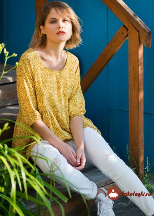 Блузка женская желтая из трикотажа