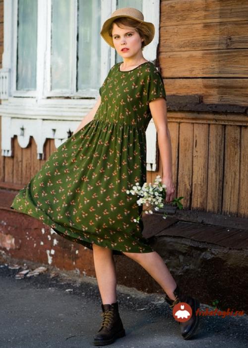 Платье зеленое летнее женское из трикотажа