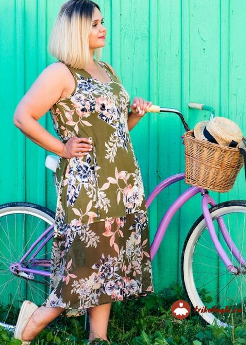 Платье летнее зеленое с рисунком