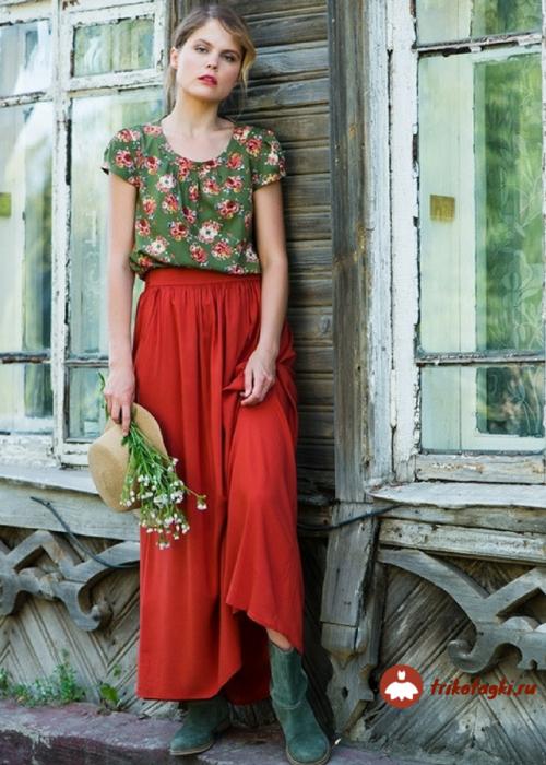 Женская трикотажная юбка красного цвета от Элегант Леди