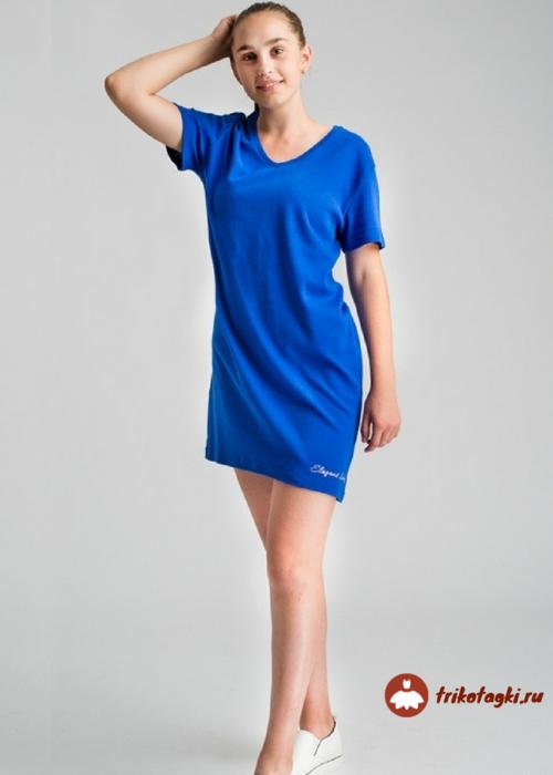 Трикотажное женское платье синее