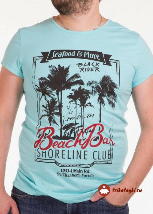 Голубая футболка с летней надписью