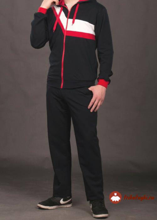 Спортивный костюм мужской черный с красным