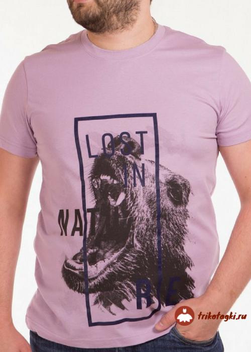 Сереневая мужская футболка с медвежьей мордой