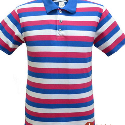 Мужская рубашка поло в сине - красную полоску